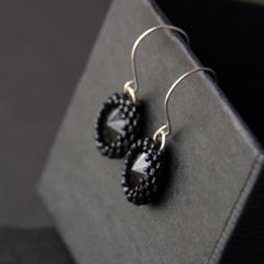 Black crystal earrings. Small round hand beaded earrings.