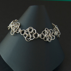 Sterling silver chainmaille bracelet. Silver bridal bracelet. Gift for her.