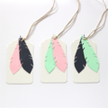 Feather Gift Tag - Set of 3 Mint, Navy and Pink