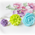 Girls Ring Set Adjustable Pastel Floral Botanical Jewellery Blue Green Purple