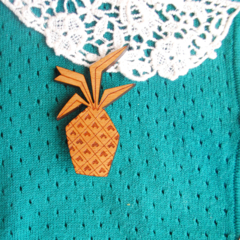 Pina Colada Piney pineapple wooden brooch