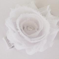White Shabby Chiffon Flower Clip