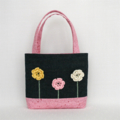 Mini Tote Bag - Denim & Pastel Pink