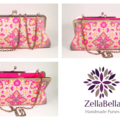 Pink kaleidoscope maxi clutch purse with chain