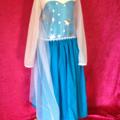 size 6 Girls Elsa inspired princess dress queen costume cape frozen