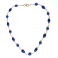 Blue and Gold Statement Gemstone Necklace. Melon Shaped Beads