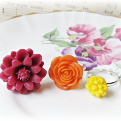 Girls' Ring Set Jewelry Flower For Kids Burgundy Jewellery Red Orange Yellow