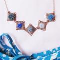 Phaedra Necklace Flower Cabochon Navy Blue Royal Pastel Sky Copper Cute