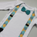 Baby Onesie Bow Tie & Braces Applique | Sizes 0000 to 0 | Short & Long Sleeved