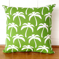 Outdoor Cushion Cover - Green and White Palms