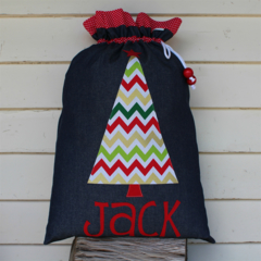 Denim Chevron Santa Sack