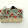 Zippered Pouch Linen and Floral Cotton - Square Bottom - Metal Zip - Storage Bag