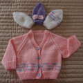 Size1(+) cardigan white & bright pink by CuddleCorner: OOAK, washable,
