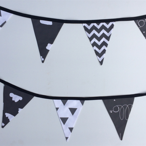 Bunting Flags For Baby Nursery In Black