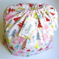 CHRISTMAS SANTA SACK ~ PINK CHRISTMAS ~ with a re-usable matching gift tag