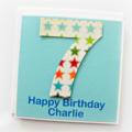 Any Age personalised card children kids age happy birthday rainbow stars