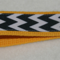 Key fob, keychain, wristlet, keyfob - yellow with black and white chevrons