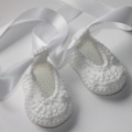 Crocheted White Ballet Shoe |  NB to 12M | Custom Colour | Made to Order