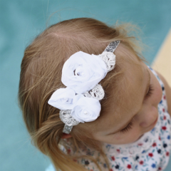 White Chiffon flowers with silver and pear detail on glitter headband