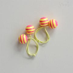 Hair ties. Retro hair ties with bobbles. Hair elastic ties. Yellow. Pink. Neon