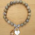 Fossil Coral Stone Gemstone, Heart Charm and Swarovski Pendant Stretch Bracelet