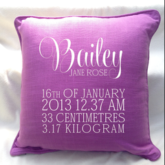 Beautiful personalised BABY GIRL Birth announcement pillows for New Borns, speci