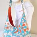 Hippie Pattern in Blue, Orange & White Ladies Hobo Handbag Purse