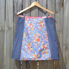 Blue japanese & chenille A line skirt