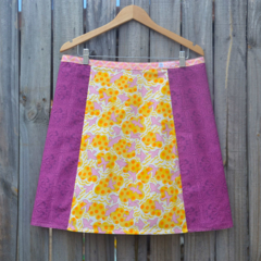 Pink birds, yellow & purple A line panel skirt