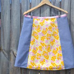 Pink birds & blue chenille A line panel skirt