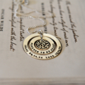 Personalised Silver Necklace Customised Jewellery Washer Family Tree Hand Stamp