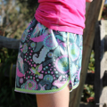 Woodland Fox Dark Teal, Shorts Lime Polka Dot Picot Lace Edge Girl's Size 10