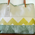 Large, Earthy, Screen Print, Eco Friendly, Leather & Linen Shoulder Tote