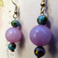 Dainty Stone and Cloisonne Bead Earrings