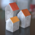 Set of 3 mini concrete houses