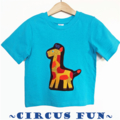 Size 2, Boys Bright Aqua Animal Circus Giraffe Tees T-shirts, 100% Cotton.