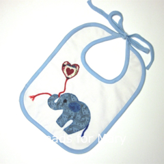 Bib for Baby or Toddler. Handmade elephant applique.