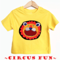 Size 1, Boys Bright Yellow Animal Circus Lion Tees T-shirts, 100% Cotton.