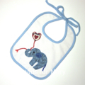 Bib for Baby or Toddler. Handmade elephant applique.
