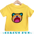 Size 1, Boys Bright Yellow Animal Circus Bear Tees T-shirts, 100% Cotton.