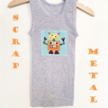 Grey Robots Singlet, Appliqued Singlet, Cotton, Size 2