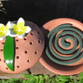 Mosquito Coil Holder with built in stand, Frangipani Design