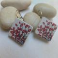Wood Photo Cut Red Leaves Earrings