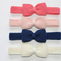 Hand Knitted Head band with Large Bow | Made to Order | Custom Colour | NB-5Yrs