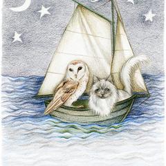 Owl & The Pussycat Nursery Rhyme Art Print Colour Pencil Drawing Nautical 8x10