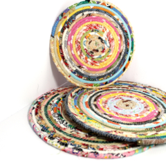 Custom order for Megs - Coiled fabric trivets - set of 3 (1)