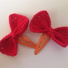 Set of 2 Bow Hair Clips - Red