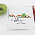 Teacher Personalised card thank you rainbow apple limited edition