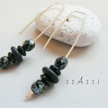 Argentium Sterling Silver range - black Czech glass bead stack earrings