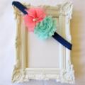 Navy / Coral & Mint Spring Headband